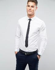stretch slim shirt in white with black tie save