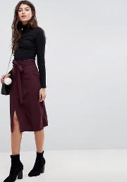 tailored pencil skirt with obi tie