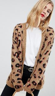 asos design tall chunky cardigan in leopard