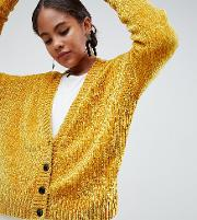 asos design tall cropped cardigan in chenille with buttons