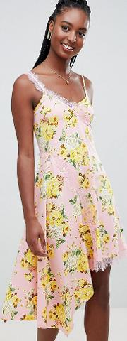 asos design tall floral print lace insert slip dress