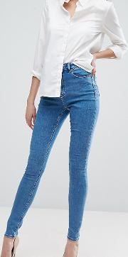 asos design tall ridley high waist skinny jeans  light wash