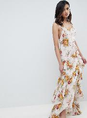 asos design tall ruffle maxi dress in rose floral print