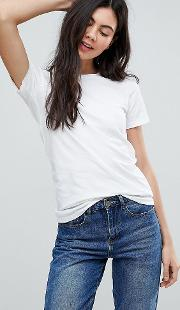 asos design tall ultimate crew neck  shirt in white