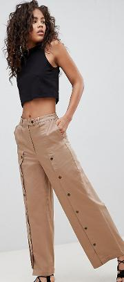 asos design tall wide leg trousers with button front