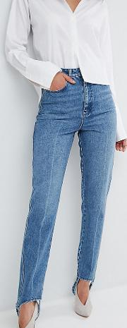 Authentic Rigid Mom Jeans In Mid Wash With Stirrup Hem