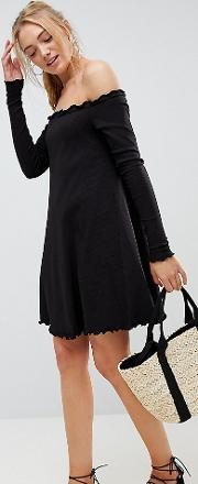 babylock rib off shoulder mini dress