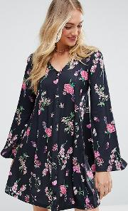 Button Through Swing Dress With Trumpet Sleeve Floral Print