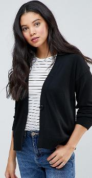 Cardigan In Fine Knit With One Button