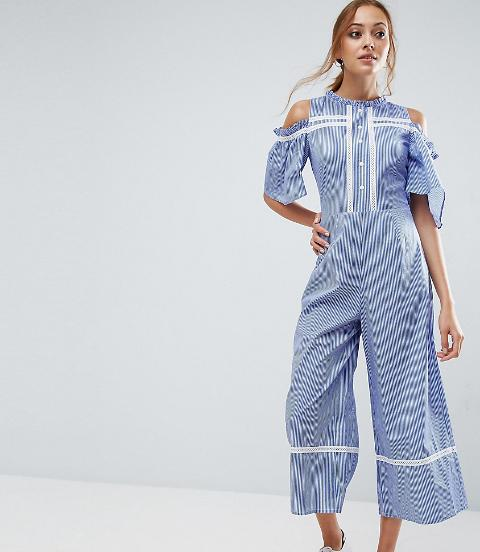 366240d7c8 asos tall Cold Shoulder Jumpsuit In Cotton Stripe With Embroidery ...