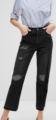 Deconstructed Straight Leg Jeans In Black
