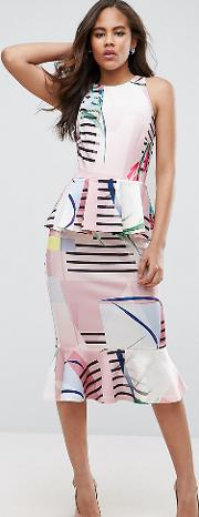 Double Peplum Pencil Dress In Cutabout Stripe And Floral Print
