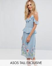 embroidered cami midi dress with frill peplum detail