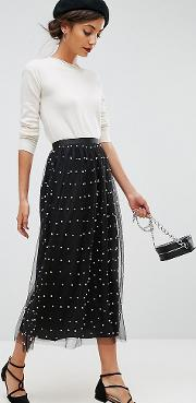 faux pearl embellished tulle fully lined midaxi skirt