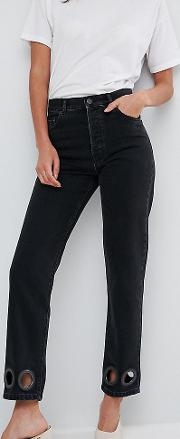 Florence Authentic Straight Leg Jeans In Washed Black With Oversize Rivets