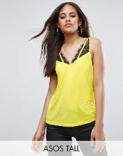 fluoro cami with lace caging detail