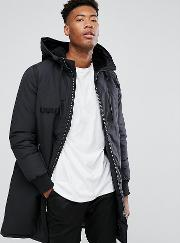 Tall Heavyweight Parka With Borg Lined Hood  Black