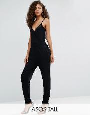 jersey cami wrap jumpsuit with mesh insert detail