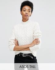 jumper with cable stitch and high neck