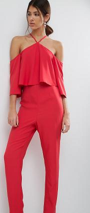 Jumpsuit With Ruffle Bardot And Halter Neck Detail