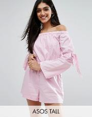 off shoulder playsuit with tie detail