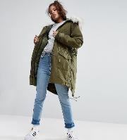 oversized parka with padded liner