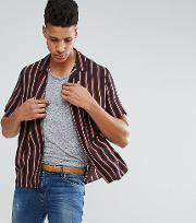 tall oversized viscose stripe shirt with revere collar