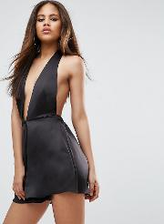 Playsuit In Satin With Halter Plunge