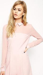 Playsuit With Collar And Sheer Sleeves