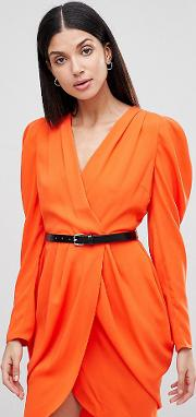 plunge neck wrap mini dress with belt