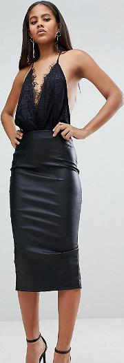 Sculpt Me Leather Look Pencil Skirt