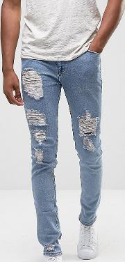 Tall Skinny Jeans  Light Wash Blue Vintage With Heavy Rips And Repair