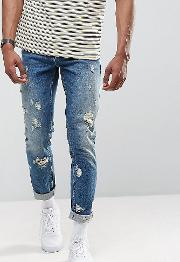 Tall Slim Jeans In Vintage Mid Wash With Rips