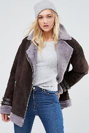 Suede Aviator With Faux Shearling