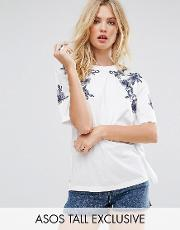 t shirt with floral embroidery