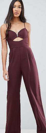 Tailored Jumpsuit With Cut Out Detail And Wide Leg