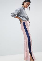 Trackpants With Kickflare Hem And Side Piping