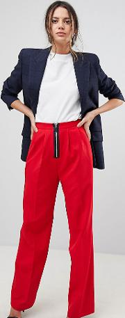 wide leg trouser with zip front