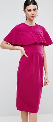 Wiggle Dress With Frill Sleeve Detail