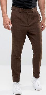 tapered smart trousers in brown texture with heavy turn up