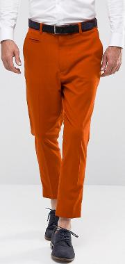Tapered Smart Trousers In Rust