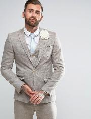 wedding skinny suit jacket  herringbone stone wool blend