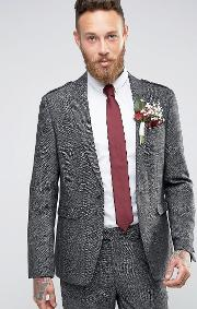 wedding slim suit jacket with eppaulettes  tweed