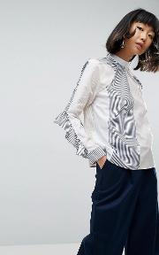 Long Sleeved Striped Shirt With Frill