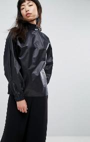 metallic funnel neck blouse with ruched back