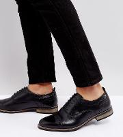 Wide Fit Brogue Shoes In Black Leather With Natural Sole