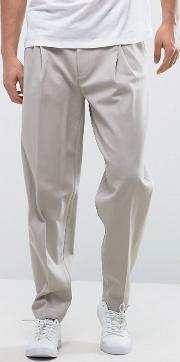 Wide Leg Pleated Smart Trousers In Putty