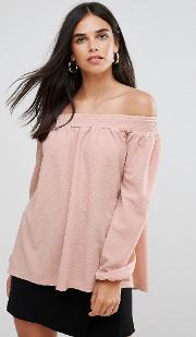 Crepe Bardot Gypsy Top