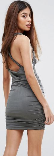 cross back rouched bodycon dress
