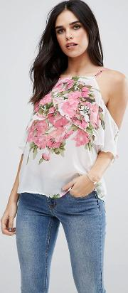 frill sleeve floral cami top
